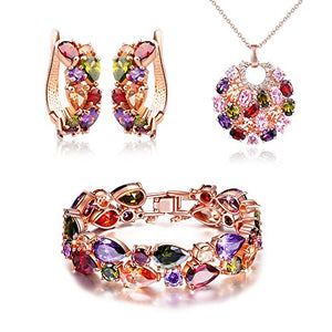 SHIP BY USPS: SILYHEART Multicolor Zircon Pendant Necklace Bracelet Earrings Jewelry Set,Women Fashion Jewelry Set,Valentines Day Gifts Birthday Gifts Anniversary Gifts Christmas Gifts for Women Mom Grandma
