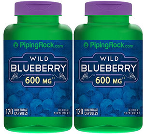 Piping Rock Wild Blueberry Fruit 600 mg 2 Bottles x 120 Quick Release Capsules Herbal Supplement