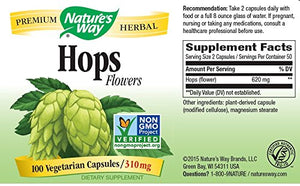 SHIP BY USPS: Nature's Way Hops Flowers, 310mg, 100 Capsules