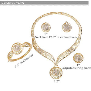 SHIP BY USPS: Paxuan Womens Silver Gold Plated Alloy Rhinestone African Jewelry Set Hallow Chain Choker Necklace Stud Earrings Cuff Bangle Bracelet Ring Set
