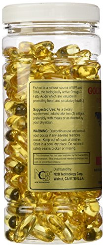 [200 Capsules] Golden Alaska Deep Sea Fish Oil Omega-3, 1000 Mg, 200 Capsules