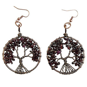 SHIP BY USPS: BAYUEBA Dangle Earrings Tree of Life Amethyst Rose Crystal Chakra Gemstone Jewelry