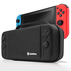Nintendo Switch Case, Tomtoc Protective Hard Shell Travel Storage Carrying Case Cover Box with 18 Game Cartridges and Handle for Nintendo Switch Console and Accessories - New Arrival, Black