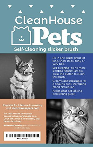 CleanHouse Dog and Cat Hair Brush -  No More Shedding | Easy Self-Cleaning Button! Pro Grooming Brush Removes all Hair, Tangles, Cleans & Desheds - Best Slicker Brush for all Pet Sizes & Hair Types