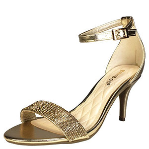 Bamboo Women's Mid Heel Embellished Single Band Sandal With Ankle Strap