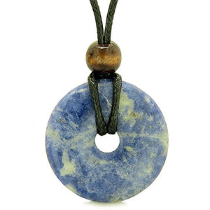 SHIP BY USPS: Amulet Magic Large Coin Shaped Donut Positive Powers Sodalite Healing Lucky Charm Necklace