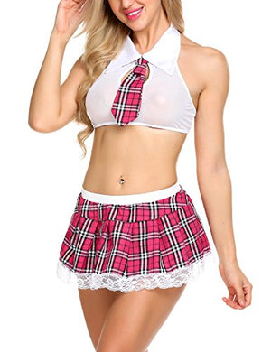 Women Schoolgirl's Outfit Costume Lingerie Set with Tie Top Mini Skirt