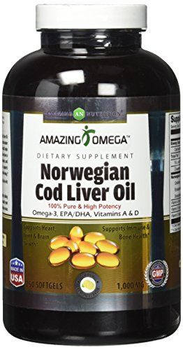 Amazing Omega Norwegian Cod Liver Oil - 1000 mg, 250 Softgels - Purest & Best Quality Cod liver Oil, Extracted...