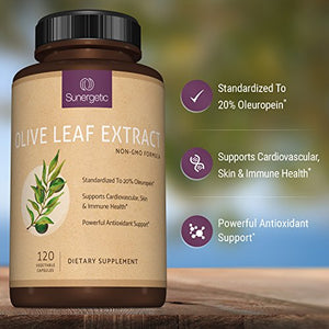 SHIP BY USPS: Best Olive Leaf Extract Capsules – Standardized To 20% Oleuropein – Super Strength Olive Leaf Exact...