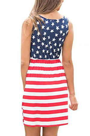 Women's July 4th American Flag Printed Sleeveless Tank Mini Dress