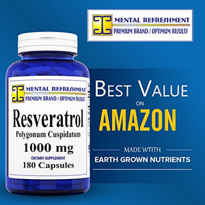 SHIP BY USPS Premium 100% Pure Resveratrol - Heart Health, Weight Loss, Anti-Aging 1 bottle - 180 capsules
