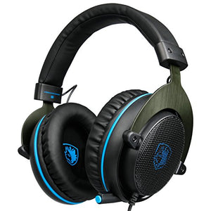 New Arrival SADES PS4 Gaming Headset , Xbox One Headset Bass Surround, Soft Memory Earmuffs, Over Ear Headphones with Mic for Sony Playstation 4 PS4 Xbox one PC Laptop Mac Smartphones (Black &Blue)