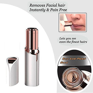 Women's Painless Hair Remover with 1 Replacement Head Electric Cordless Facial Hair Razor Portable Bikini Trimmer Ladies...