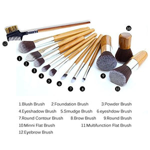 SHIP BY USPS Ambox 12 Pieces Makeup Brush Set Professional Bamboo Handle Premium Synthetic Kabuki Foundation Blending Blush...