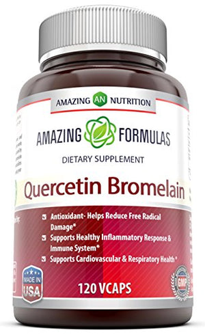 Amazing Nutrition- Quercetin 800 Mg with Bromelain 165 Mg, 120 Vcaps: A Potent Team Providing Amazing Health...