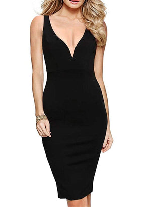 Women's Elegant Sexy Spaghetti Straps Deep V Neck Sleeveless Bodycon Club Party Dress 165