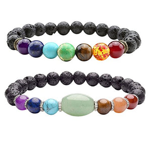 SHIP BY USPS:  2pcs 7 Chakras Bracelet Lava Rock Stone Crystal Reiki Healing Balancing Natural Gemstone Round Beads for Essential Oil w/Box,Various Sets