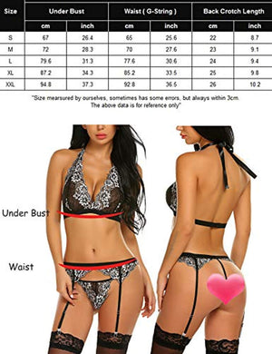 Women Lingerie Set with Garter Belt Lace Bra and Panty Set Mini Babydoll