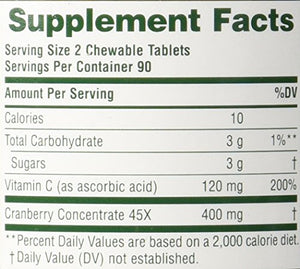 Nature's Plus Ultra Chewable Cranberry -- Chewable Tablets (1-Pack of 180)