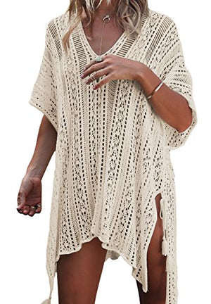 Loritta Women Beach Cover Bathing Suit Covers Bikini Swimwear Covers up Crochet Dresses