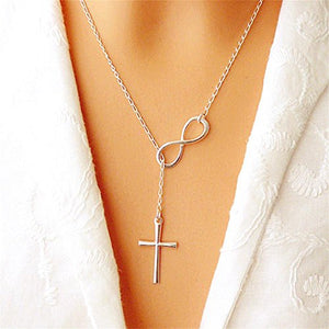 SHIP BY USPS Infinity Forever Cross Necklace - Cross Infinity Lariat