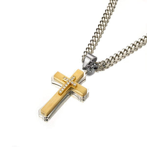 W&W Lifetime Stainless Steel Mens Womens Silver and 14k Yellow Gold CZ Cross Pendant Necklace, 24""