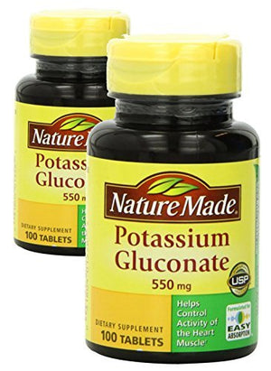 (2 Pack) Nature Made Potassium Gluconate 550mg, 100 tablets by Nature Made