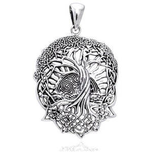SHIP BY USPS: Rising Sun - Interconnected Celtic Knot Tree and Roots of Life Sterling Silver Pendant