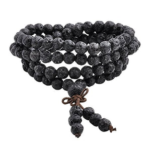 SHIP BY USPS:  6mm 8mm Natural Lava Rock Stone Healing Gemstone 108 Buddhist Prayer Beads Tibetan Mala Bracelet Necklace
