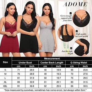 Women's Modal Sleepwear Full Slips Strap Nightgown V Neck Chemise Lace Lingerie