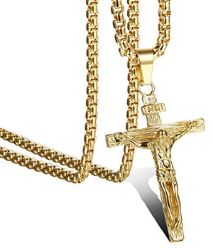 SHIP BY USPS Jstyle Jewelry Stainless Steel Antique Cross Crucifix Pendant Necklace For Men 24 Inch