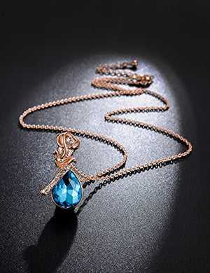 SHIP BY USPS: Simulated Birthstone Rose Flower Drop Pendant Crystal Rose Gold Plated Necklace Anniversary Gifts