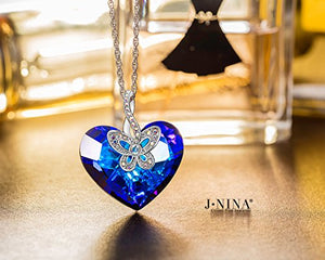 Jewelry - Christmas Jewelry Gifts Packing - Butterfly Love Bermuda Blue Crystals from Swarovski Heart Design Women Pendant Necklace, Women