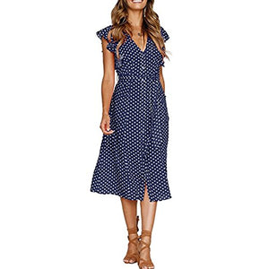 Kasoni Women's Summer Polka Dot V Neck Sleeveless Boho Midi Casual Dress