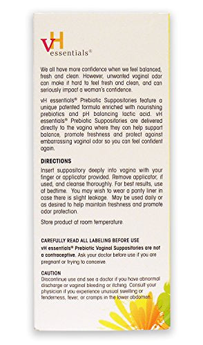 [Pack of 2] vH Essentials Prebiotic Vaginal Suppositories, pH Balanced for Feminine Odor, Hygiene, and Health (15 Count Each)