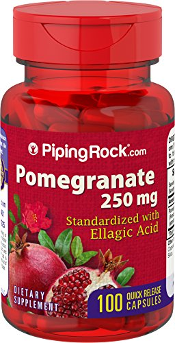 Piping Rock Pomegranate Standardized with Ellagic Acid 250 mg 100 Quick Release Capsules Dietary Supplement