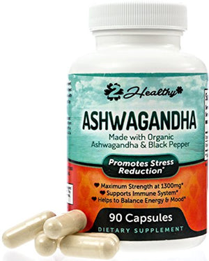 [2 Bottles] Organic Ashwagandha Capsules 1300mg - Premium Root Powder Supplement for Stress Relief, Anxiety Support & Mood...