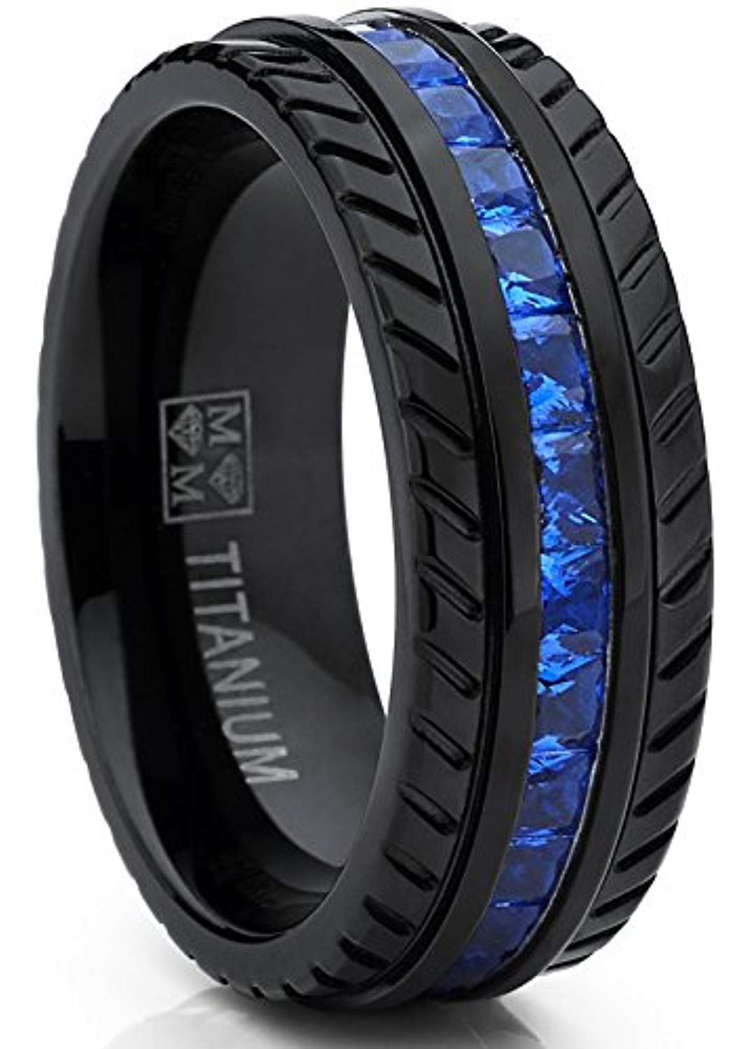 Men's Black Titanium Wedding Band, Engagement Eternity Ring Sizes 8 - 12 W/Princess Cut Deep Blue Cubic Zirconia CZ