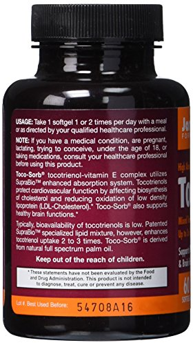 SHIP BY USPS: Jarrow Formulas Toco-Sorb, Supports Healthy Cardiovascular & Brain Function, 60 Softgels
