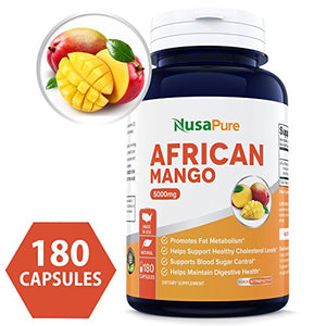 Best African Mango Cleanse 5000MG per Caps 180 Capsules (NON-GMO & Gluten Free) Extra Strong Pure 100% Fat...