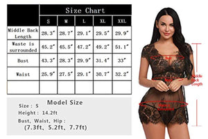 Sexy Teddy Babydoll Lingerie for Women Mini Deep V Floral Lace Chemise Sleepwear