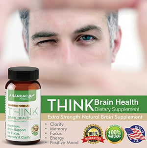 SHIP BY USPS: Extra Strength Natural Brain Supplement - Nootropic Brain Booster for Focus, Clarity, Memory, Cognitive...