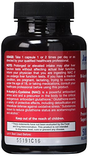 SHIP BY USPS: Jarrow Formulas N-A-C (N-Acetyl-L-Cysteine), Supports Liver & Lung Function, 500 mg, 100 Caps