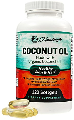[2 Bottles] Organic Coconut Oil Capsules - 2000mg Pure Extra Virgin Raw Coconut Oil Supplements for Skin, Healthy Weight...