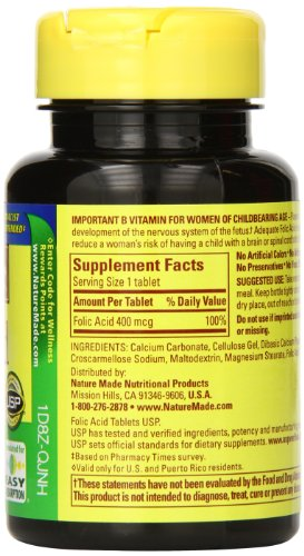 SHIP BY USPS: Nature Made Folic Acid 400mcg, 250 Tablets