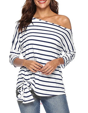 Defal Womens Sexy Oblique Off Shoulder 3/4 Sleeve Colorful Striped Tunic T-Shirt Casual Loose Tie Front Blouse Top