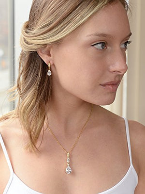 SHIP BY USPS: Mariell Best-Seller 14K Gold Plated Pear-Shaped CZ Bridal, Bridesmaids or Prom Necklace and Earring Set