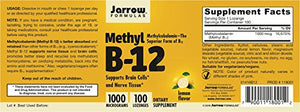 SHIP BY USPS: Jarrow Formulas Methylcobalamin (Methyl B-12) 100 Lozenges