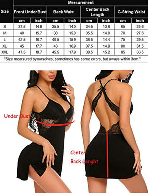 Women Chemise Lingerie Sexy Nightie Full Slips Lace Babydoll Sleepwear Dress(S-XXXL)