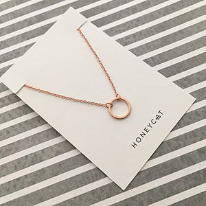 HONEYCAT Gold, Rose Gold, or Silver Mini Karma Open Circle Orbit Necklace | Minimalist, Delicate Jewelry